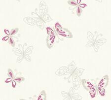 Vlies Tapete Schmetterlinge creme weiß lila pink flieder grau Girls