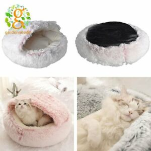 Cozy Donut Long Plush Pet Cat Bed Fluffy Soft Warm Calming Beds Sleeping Kennel