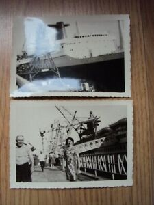 2 ANCIENNES PHOTOGRAPHIES PAQUEBOT FRANCE