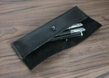 women Cosmetic storage bag Makeup box case pencil pen cow Leather black z505