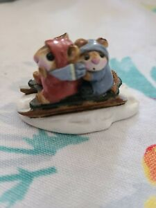 Wee Forest Folk Sledding Mice 1982