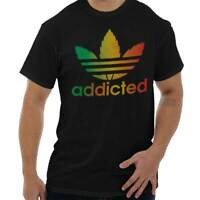 Addicted Stoner Funny 420 Weed Pot Leaf Peace Sign Cool Gym T Shirt