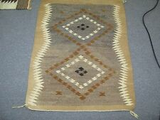 """Vintage Hand Made Wool Blanket Southwest American Navajo Weaving 24"""" x 36"""""""