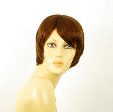 perruque femme 100% cheveux naturel châtain clair cuivré ref SOLENE 30