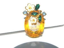 Vintage Czecho Topaz Colored Stone  with Rhinestones and Enamel Flowers
