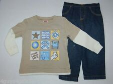 Toddler Boys Outfit TAN L/S SHIRT Truck Engine Repair BLUE JEAN PANTS Size 18 MO