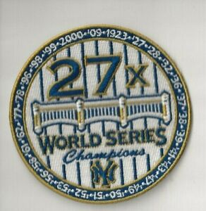"""NEW 3 1/2"""" NEW YORK YANKEES 27X CHAMPIONS IRON ON PATCH FREE SHIP P1"""