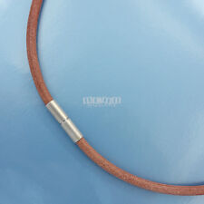 """45cm (17-3/4"""") Satin Stainless Steel 4mm Round Genuine Leather Necklace / Choker"""