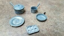 Lot of 5 Vintage Dollhouse Miniature Tin Metal Cooking Pot Pan Plate Muffin Pan