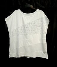 WHITE COTTON BLEND EYELET SLUBBED DOLMAN STRETCH KNIT TOP SHIRT~18~20~1X~0X~NEW