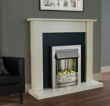 ELECTRIC FIRE IVORY FIREPLACE SURROUND SET BLACK SILVER ELECTRIC FIRE PEBBLE