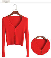 NEW Small Pure Cashmere Cardigan Jackets V-neck Slim Sweaters Short Knitted Coat