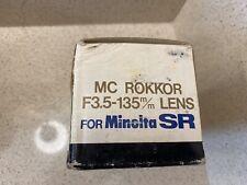 Minolta Camera Lens MC TELE ROKKOR-QD f/3.5 135mm  mint condition sr-7 electro x