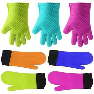Heat Resistant Silicon Oven Mitts With or Without Lining Gloves Pets BBQ