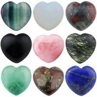 Natural Crystal Gems Puff Heart Palm Worry Stone Healing Reiki Love Decor DIY