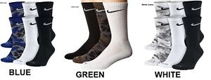 Men's Women NIKE DRIFIT Camo Crew Socks 3 Pairs M 6-8 Large 8-12 Various Colors