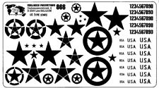 Verlinden Productions 120mm 1:16 US Numbers and Stars Dry Transfer - White #866