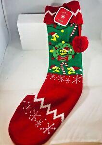 Hallmark Woodstock Peanuts Knit Xmas Stocking Red & Green Tassel Pom Pom NWT
