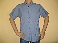 WORN ONCE MENS BLUE CHECKED ROCKPORT SHORT SLEEVED FASHION SHIRT LARGE 40/42 CST