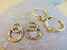 Post Enamel Circle Dangle Earrings #125 2 Pairs Vintage Gold-tone Twisted Hoop