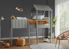 Kids Cabin Bunk Bed Wooden Single Loft Mid Sleeper With Ladder Treehouse Canopy