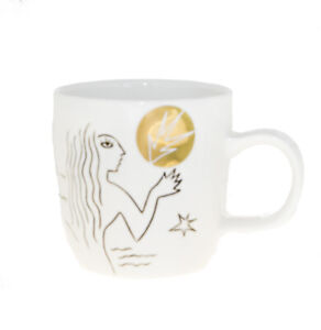 Starbucks Anniversary White Gold Etched Siren Tail Ceramic Handle Mug 12oz 2013