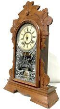 ANTIQUE ANSONIA WALNUT KITCHEN SHELF CLOCK WITH ALARM