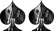 2 x Skull Ace of Spades Sticker Decal Motorbike Helmet Boards Tablet iPad  081