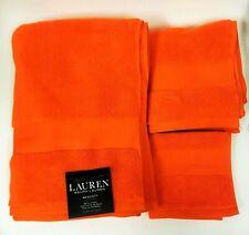 RALPH LAUREN 3 PC WESCOTT BRIGHT SUMMER ORANGE COTTON BATH,HAND TOWEL,WASH CLOTH