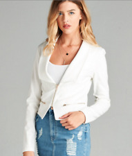 NEW Zip Front Cropped Fitted Stylish Blazer Jacket-  Long Sleeve- S-M-L
