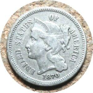 elf Three Cents Nickel  1870