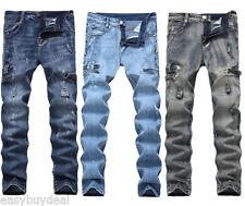 Men's Ripped Skinny Jeans Destroyed Frayed Scratche Holes Slim Fit Denim Pants
