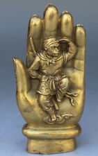 Chinese bronze sculpture sun wukong in the tathagata Buddha's hand