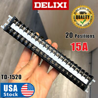 DELIXI USA Strip20 Position 660V 15A Dual Row Screw Wire Barrier Terminal Panel