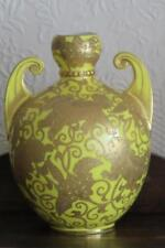 CROWN DERBY TWIN HANDLED YELLOW VASE GILT GOLD MYTHOLOGICAL BEASTS Litherland