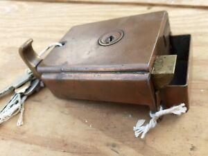 Vintage old Antique Retro copper effect Rim lock extremely rare beautiful item