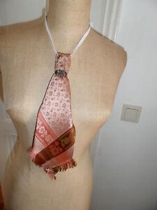 Rosa + Beige + Braun Trachtenkrawatte, Reine Seide, Silberknoten, verstellbar