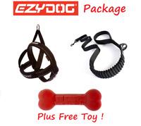 EZYDOG PACKAGE BLACK Zero Shock 48 Dog Lead Leash & Quick Fit Harness & FREE TOY