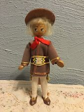 Vintage Peg Wooden Jointed FOLK ART Polish Poland DOLL Paper Sticker