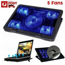 5 Fans LED USB Adjustable Notebook Stand Cooler Pad For Dell ASUS Alienware Acer