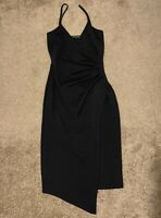PrettyLittleThing Black Wrap Dress Size 8