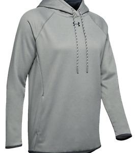 Under Armour Women Double Threat Fleece Hoodie - Grey Heather - Size Large Long