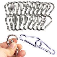 20 Aluminum Carabiner D-Ring Key Chain Clip Snap Hook Karabiner Camping Keyring