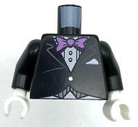 Lego New Black Minifig Torso Suit Coat Jacket Formal Lavender Bow Tie Pattern