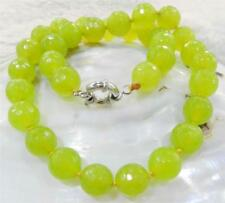 """10mm Faceted Peridot Round Beads Gemstone Necklace 18"""""""