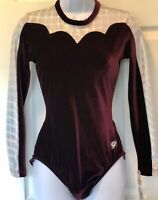 GK LADIES X-LARGE LgSLV WINE VELVET SILVER LASER GYMNASTICS DANCE LEOTARD AXL