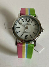 NEW! ANNE KLEIN WHITE MOTHER OF PEARL FACE COLORFUL STRIPES BRACELET WATCH SALE