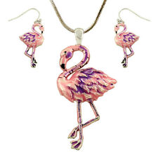 Pink Flamingo Enameled Pendant Necklace and Earrings Set with 19