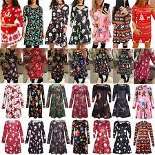 Womens Ladies Christmas Print Fancy Mini Dress Party Xmas Swing Skater Dress AU