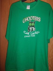 OHOOTERS green Graphic Get Lucky Johns Pass 2XL t shirt Hooters